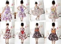 2014 Hot sale  Girls Beautiful Dresses Children Summer Party Bow Flower Girls  Print Dress 9 Styles Good Quality
