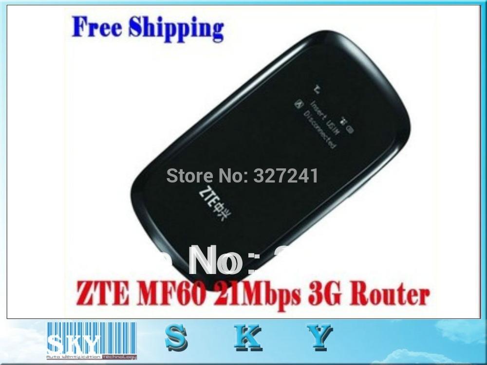 Free Shipping 1PCS ZTE MF60 21.6M WCDMA 3Gwifi wireless 3G modem,wireless router for i pad,i Phone,laptop(China (Mainland))