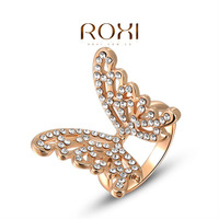 ROXI Fashion Rose Gold Plated Butterfly Ring,set with zircon crystal,women jewelry