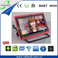 q88 7 inch 1.2ghz cheapest allwinner a23 tablet pc dual core dual camera
