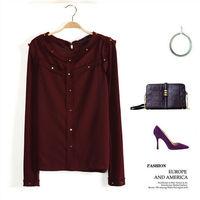 2015 New Fashion women's Brown Chiffon Blouse Ladies' Vintage V Neck shirt slim quality brand designer Tops Blusas Femininas