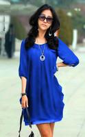 New 2014 women Summer Dress Chiffon Dress half sleeve Korean style fashion Lace Dress loose plus size  Girl Dresses S~5XL