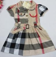 Girls Dress New 2014 Plaid Girl Clothing Brand Designer 100 % Cotton Summer Children Dresses Beige Blue Kids Girls Clothes
