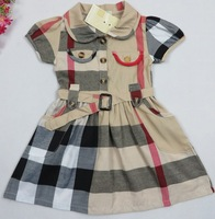 Girls Dress New 2014 Plaid Girl Clothing Brand Designer 100 % Cotton Summer Children Dresses Beige Red Kids Girls Clothes