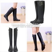 2014 Spring Autumn Women New Fashion Rain High Knee Length Black Rubber Boots Shoes Waterproof Wellies