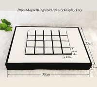 Jewelry Display Props Vitrine Ring Display Tray Holder for Rings Showcase With 20pcs Magnet Flat Sheets