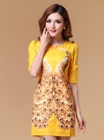 new 2014 autumn winter women's dresses yellow blue symmetric peacock print gem beading loose dress fashion casual brand dress