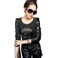 Hot sale!Cool!Autumn Winter T shirt Women Long Sleeve PU Leather Sleeve Beauty Head Tops Plus Size S-XXL roupas femininas #01010