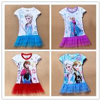 Brand 2014 new Hot Girl Frozen Dress Elsa & Anna Summer Dress Kid Princess Dresses Children Clothing Kids Wear