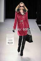 Winter 2013 Women Raccoon Fur Collar Classic Double-breaste Warm Wool coat  1221P1388