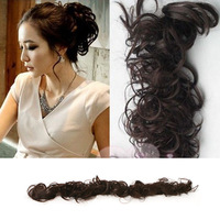 Hot Sale 2014 New Fashion Women Ladies Curly Synthetic Hair Chignon Hair Bun Hair Extentions 2 Colors Availabale #L04079