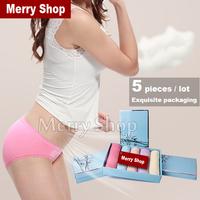 5 pcs/lot 2014 New Women Cotton Briefs Ladies Lace Panties Women Sexy Briefs Boxed Women Briefs Cotton Underwear