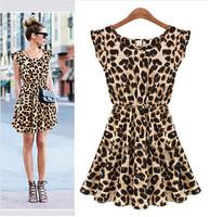 Summer 2014 Fashion Sleeveless Round Neck Waist Down Leopard Print Skater Pleated Tank Mini Dress