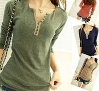 2014 new fashion women spring autumn honey basic shirt V-neck cotton t shirt long sleeve slim button knit shirt free size PH0407