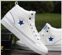 2014 new fashion hot sale High top men's  canvas shoes  white color  sneakers shoes