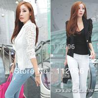 Fashion Women's Ladies Sheer Flower Lace Patchwork Slim Fit White Black OL Top Blazer Blouse Jacket Size  M L XL Free Shipping