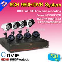Free Shipping,8ch CCTV System NVR 700TVL IR weatherproof Cameras 8ch 960H DVR Recorder,USB 3G WIFI,HDMI output DVR Kit