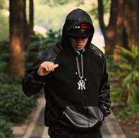 Plus Big Size Hoodie Sweatshirt Pullover Hip-hop PU Leather Sleeve Patchwork hiphop hip hop fashion outerwear Black HBA KTZ 5XL