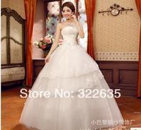 2014 the new bride wedding dresses sweet princess lace wedding dress diamond strapless dress with flowers