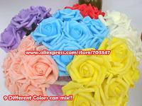 You can Mix 9 Colors Per one lot!!! 432pcs=72 bunchesX ( 7-7.5cm ) Foam Rose  Bunch Wedding Decor Centerpiece * FREE SHIPPING *