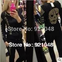 New 2014 Fashion Women sweatshirt Cool Skull sport suit women O-neck sweatshirt woman size S-XXL Jacket + Pants Free shipping