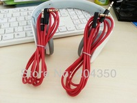Red 1.2m 3.5mm male to male L Plug Stereo AUX Audio Cable for Monster beats headphone cell phone 3pcs/lot