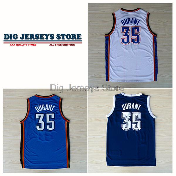 Oklahoma City 35 Kevin Durant Jersey Blue, White, Durant Basketball Jersey Free Shipping - BOT101(China (Mainland))