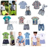 ST007  Free shipping fashion children 2 pcs set boy casual shirt + jeans with braces gentleman suit baby clothing set retail