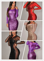 All-Over Sequined Sheer Long Sleeves Bodycon Club Dress  Party Dress LC2999  wintage russian style ruslana korshunova dress