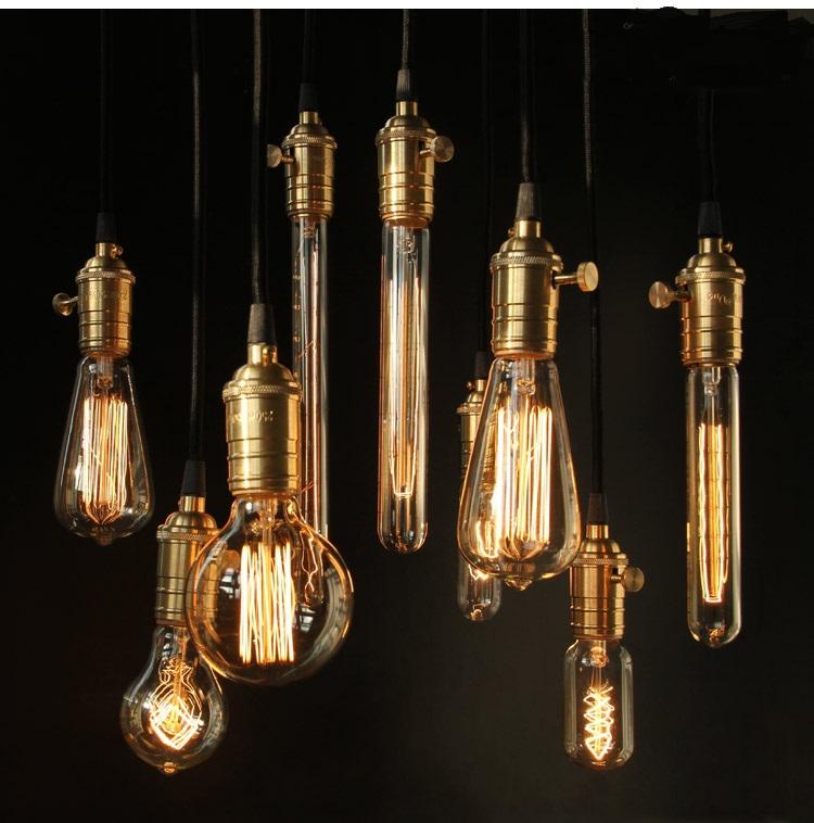 Free Shipping Vintage Retro DIY E27 Spiral Incandescent Light Handmade Fixtures Glass LED Edison Bulb 40W 110-240V Pendant Lamps(China (Mainland))