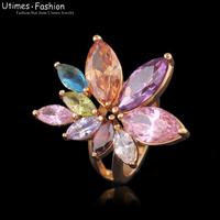 2014 New Luxury Flower Multicolor Women Ring 18k Gold Plated AAA Zircon