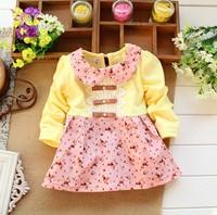 New 2014 Autumn Kids clothes Girls long-sleeved t-shirt Girls baby dress kids clothing dress chiffon top children's Lace flower