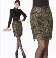 M-4XL 2014 Summer Autumn New Arrival Bronzier Vintage Lace Thickening Embroidered Bust Skirt Step Slim Hip Women's Fashion NLJS1