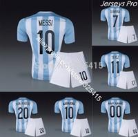 Chandal camiseta Argentina 2014 soccer uniforms football kits jersey with short messi maradona higuain di maria aguero zanetti