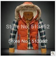 Free shipping 2013 winter thick cotton vest Men Slim Hooded Down Vest Men's waistcoat waistcoat