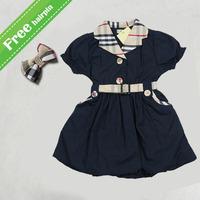 2015 Baby girl dress fashion UK brand  plaid designer dresses high quality hot sale babi kids cotton clothes