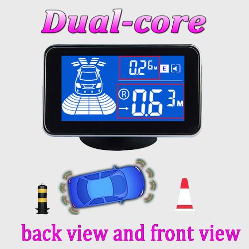 Waterproof Car front and rear parking sensor system 8 sensors Reverse Backup Radar kit LCD Display Monitor A05-8(China (Mainland))