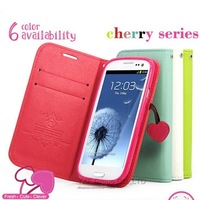 Luxury FashionCherry Wallet PU Leather Case for Samsung Galaxy S3 SIII i9300 Elegant Girl Stand Flip Cover Pouch Cute Lovely