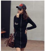 New plus size L XL 2XL 3XL 4XL women's thick cotton zipper women Slim Long black sweatshirt