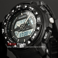 2014 Fashion Men's Black Multi-functional Dual Dial Digital 30ATM Watch Resin Rubber Luxury Sport Military Wrist Watches