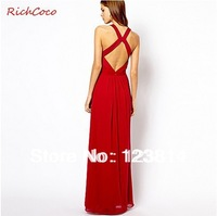 Free Shipping New Colorful Red Black Chiffon Evening Dress Backless Floor Length Off Shoulder Crossed Strapes Sexy Vestidos D266