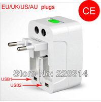 Surge protector universal power Adapter Converter EU / US / AU / UK 4 in 1 travel plug, AC 110-250V charger adaptor 10A