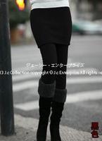 New korean style plus size women fall winter thick fleece Slim black leggings