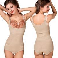 Plus Size Full Body Slimming Braless Shaper Magic Seamless Underbust Bodysuits Adjustable Straps Hook Tummy Slimmer