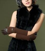 Fashion women's three-in gloves sheepskin wool line gloves long design genuine leather S M L XL