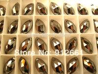 Free shipping(108pcs per lot)  Sew On FlatBack MARQUIS rhinestone jet hematite 6*12mm crystal accessory