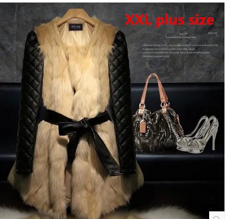 Women Long Faux Fox Fur Coat 2015 Winter Hot Sale PU Long-Sleeve Overcoats High Quality Beige Warm Fur Jacket(China (Mainland))