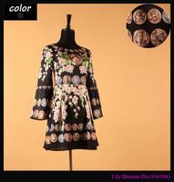 Plus Size XXXL Summer fashion 2014 Gold Coins Flower Print Vintage Brand Flare Sleeve Women Runway Silk Dress