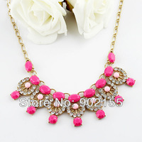 Fashion design charming gold alloy chain imitation rhinestone rhinestone choker necklace