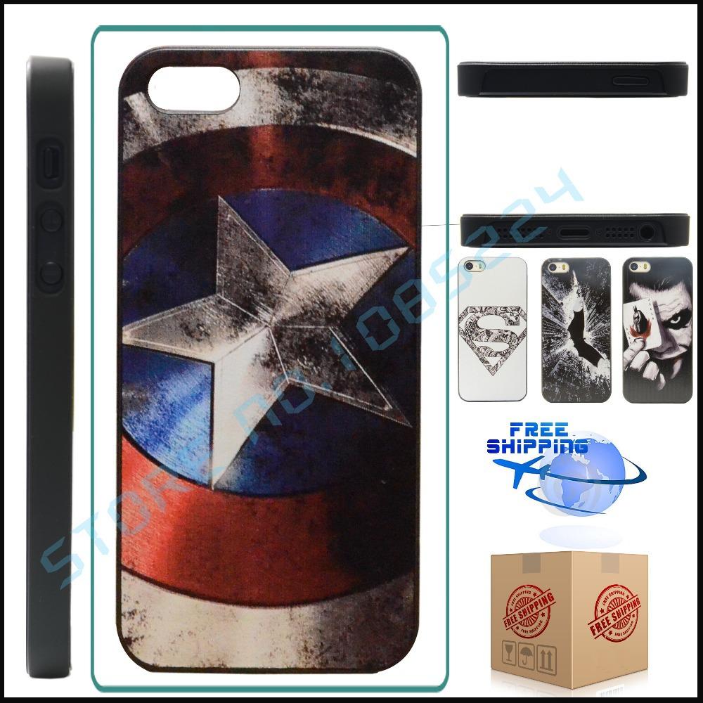 Case For iPhone 5 Marvel Captain America, Marvel Hero Captain America Design For iPhone 4 4S 5 5S Case(China (Mainland))